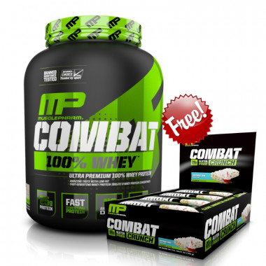 MusclePharm Combat 100% Whey Protein 5lbs + Combat Crunch Bars Box 12pk